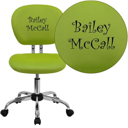 Embroidered Mid-Back Apple Green Mesh Swivel Task Chair with Chrome Base