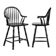 "DLU-B3024A-AB-2  24"" Counter Height Windsor Arm Stool  Antique Black  Set of 2"