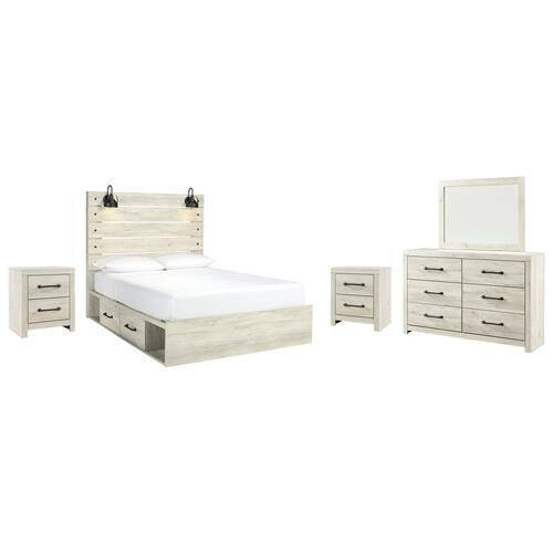 Queen Panel Bed With 4 Storage Drawers With Mirrored Dresser and 2 Nightstands