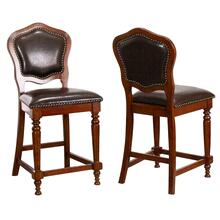 CR-87148-24-2  Bellagio Upholstered Barstools with Backs  Counter Height Dining Chairs  Distressed Cherry Brown Wood  Nailheads  Set of 2
