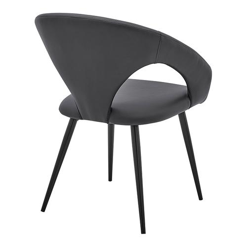 Elin Gray Faux Leather and Black Metal Dining Chairs - Set of 2