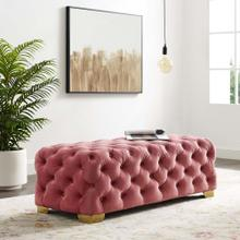 Sensible Button Tufted Performance Velvet Bench in Dusty Rose