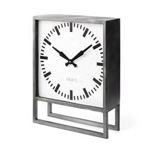 See Details - Felix Gray Metal Square Table Clock