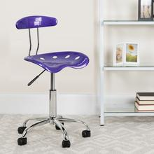 View Product - Vibrant Violet and Chrome Swivel Task Office Chair with Tractor Seat