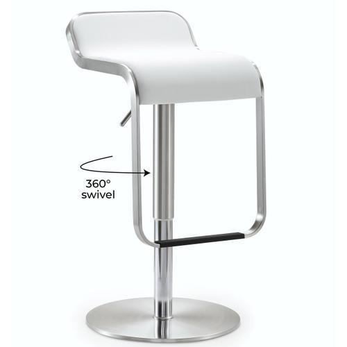 Tov Furniture - Napoli White Stainless Steel Barstool