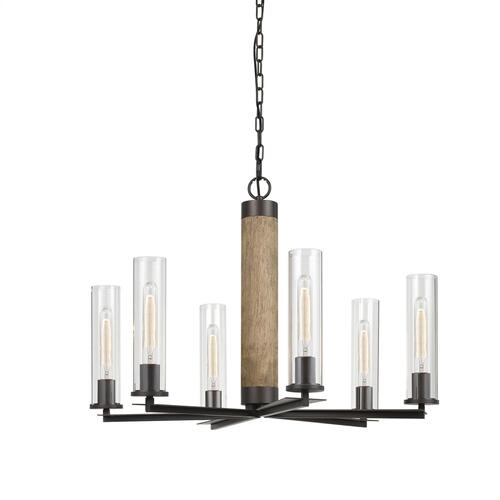 60W X 6 Silverton Metal/Wood 6 Light Chandelier With Glass Shades. (Edison Bulbs included)
