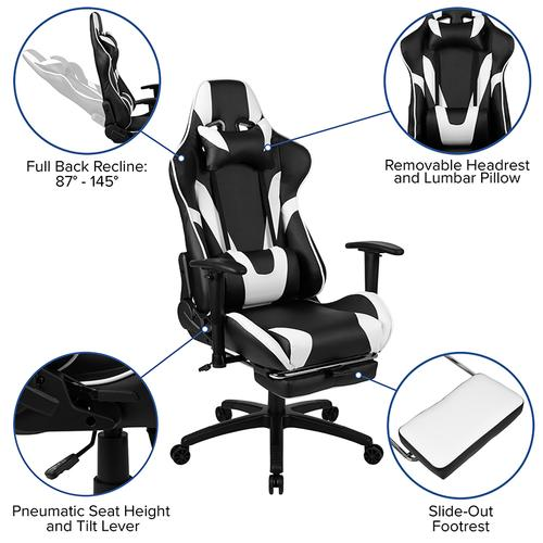 Gallery - Gaming Desk and Black Footrest Reclining Gaming Chair Set - Cup Holder\/Headphone Hook\/Removable Mouse Pad Top\/Wire Management