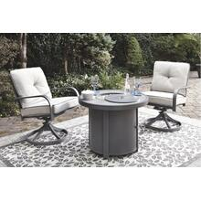 Donnalee Bay Outdoor Fire Pit Table and 2 Swivel Chairs