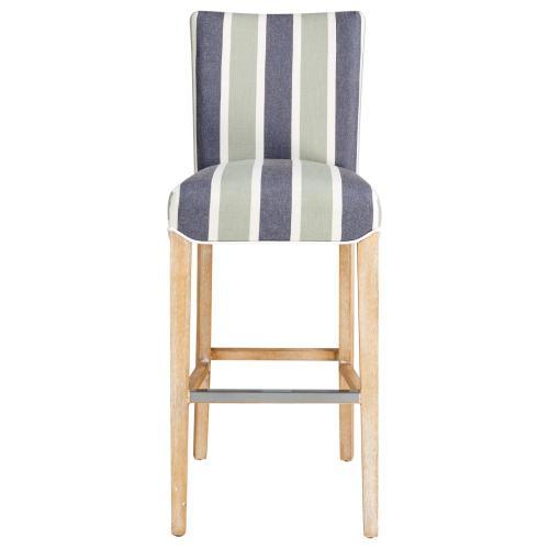 Milton Fabric Bar Stool NWO Legs, Hurley Stripe Blue