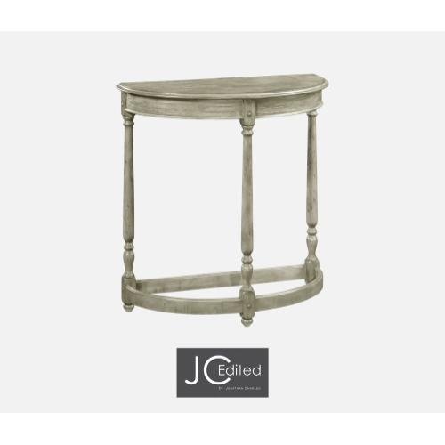 Rustic Grey Demilune Console Table