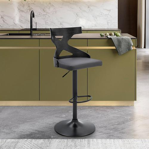 Armen Living - Etienne Adjustable Swivel Gray Faux Leather and Black Metal Bar Stool