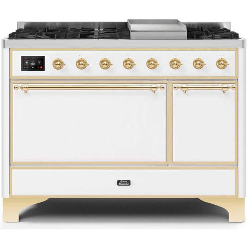Majestic II 48 Inch Dual Fuel Natural Gas Freestanding Range in White with Brass Trim