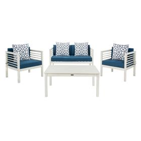 Alda 4 PC Outdoor Set With Accent Pillows - White / Navy / White