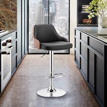 View Product - Asher Adjustable Black Faux Leather and Chrome Finish Bar Stool