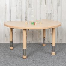 """See Details - 25.125""""W x 35.5""""L Crescent Natural Plastic Height Adjustable Activity Table"""