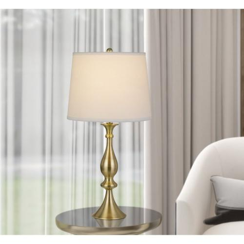 150W 3 Way Pori Metal Table Lamp With Taper Drum Linen Hardack Shade (Priced And Sold As Pairs)