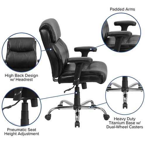 Gallery - HERCULES Series Big & Tall 400 lb. Rated Black LeatherSoft Ergonomic Task Office Chair with Clean Line Stitching and Arms