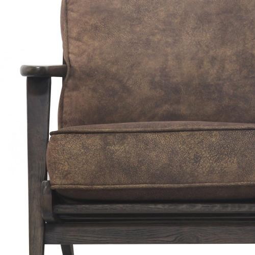 Product Image - Albert Fabric Accent Arm Chair Dark Brown Frame, Mocha Hide