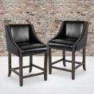 """Carmel Series 24"""" High Transitional Walnut Counter Height Stool with Nail Trim in Black LeatherSoft, Set of 2 Product Image"""