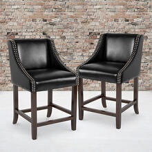"Carmel Series 24"" High Transitional Walnut Counter Height Stool with Nail Trim in Black LeatherSoft, Set of 2"