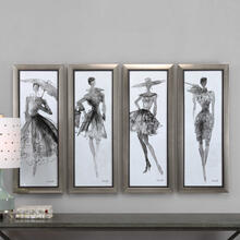 Fashion Sketchbook Framed Prints, S/4