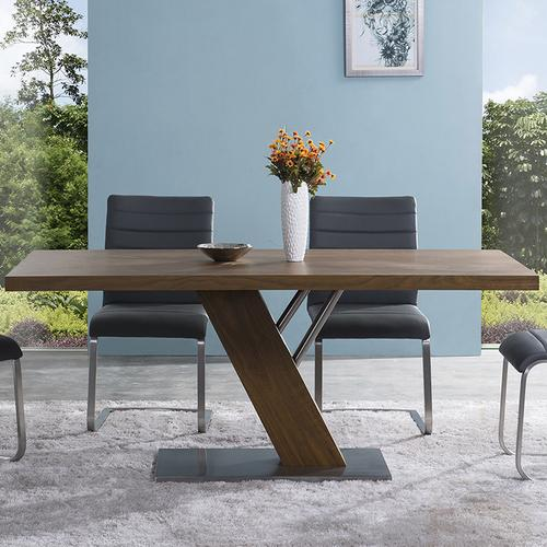 Armen Living - Fusion Contemporary Dining Table In Walnut Wood Top and Stainless Steel