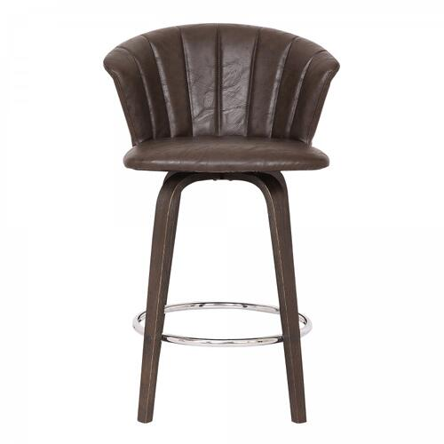 "Connie 26"" Modern Brown Faux Leather Bar Stool"