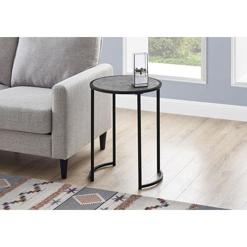"""ACCENT TABLE - 24""""H / GREY STONE-LOOK / BLACK METAL"""