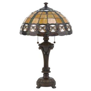 Table Lamp - Ant. Bronze W/tiffany Shade, E27 Cfl 13wx2