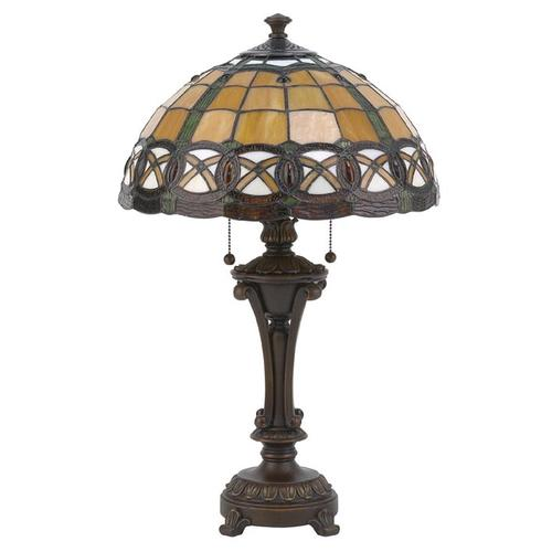 Table Lamp - Ant. Bronze W/tiffany Shade, E27 Cfl 13wx2