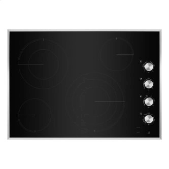 "30"" Lustre Stainless Radiant Glass Cooktop with Halo-Effect Knobs"