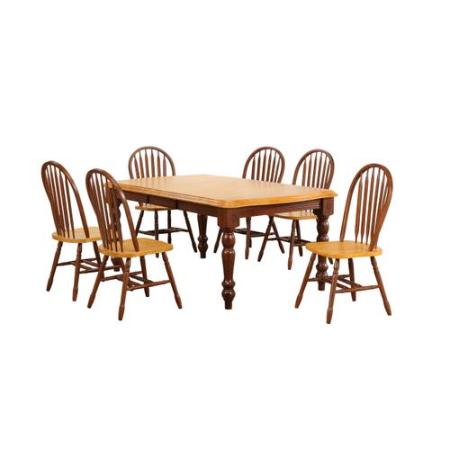 Extendable Dining Set w/Arrowback Chairs (7 Piece)