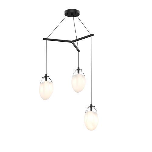 Sonneman - A Way of Light - Liquid LED Pendant [Size=3-Light Standard, Color/Finish=Satin Black w/Poured White Glass, Shape=Tri-Spreader]