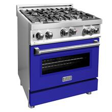 ZLINE 30 in. Professional Gas on Gas Range in Stainless Steel with Blue Matte Door (RG-BM-30)