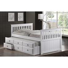 7590 WHITE Wooden Platform Bed - TWIN