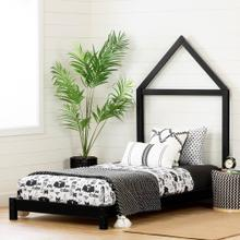 Solid Wood Bed with House Frame Headboard - 39''