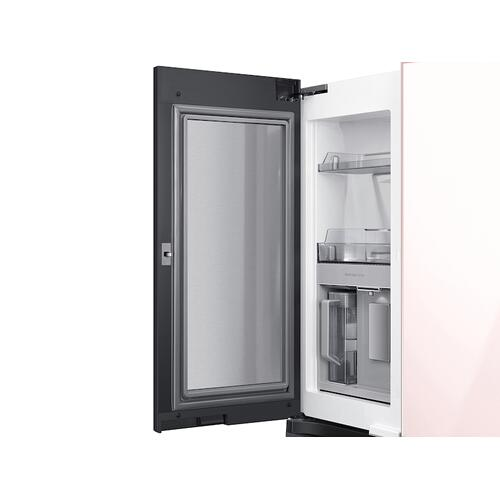 Samsung - 23 cu. ft. Smart Counter Depth BESPOKE 4-Door Flex™ Refrigerator with Customizable Panel Colors in Rose Pink Glass