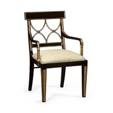 Regency black painted curved back chair (Arm)