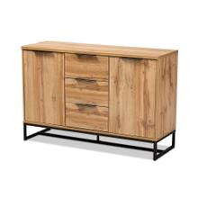 See Details - Baxton Studio Reid Modern and Contemporary Industrial Oak Finished Wood and Black Metal 3-Drawer Sideboard Buffet