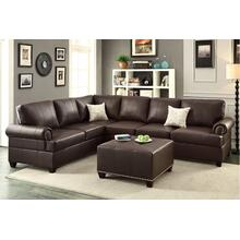 Large Reversible Espresso Sectional With Nail Head Trim