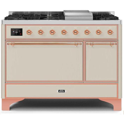 Gallery - Majestic II 48 Inch Dual Fuel Natural Gas Freestanding Range in Antique White with Copper Trim