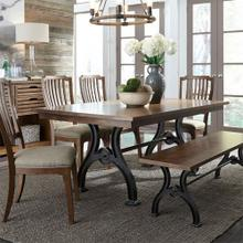Arlington 6 Piece Trestle Table Set in Cobblestone Brown Finish       (LIBERTY-411S)