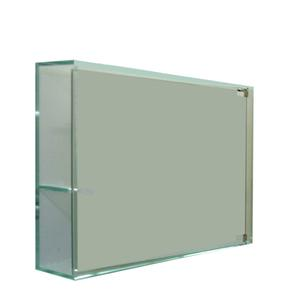 Aeri glass medicine cabinet with two shelves and mirror door. Product Image