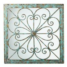 View Product - Framed Square Scroll Wall Decor with Mirror.