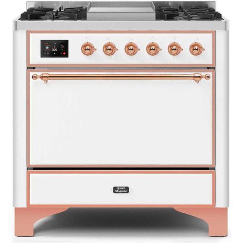 Gallery - Majestic II 36 Inch Dual Fuel Liquid Propane Freestanding Range in White with Copper Trim