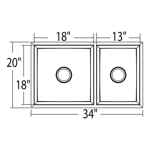 """Moen - 1600 Series 34""""x20"""" stainless steel 16 gauge double bowl sink"""