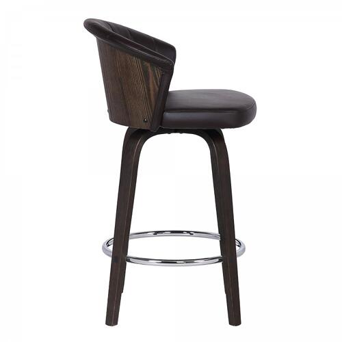 "Ashley Wood Back 26"" Swivel Brown Faux Leather Bar Stool"