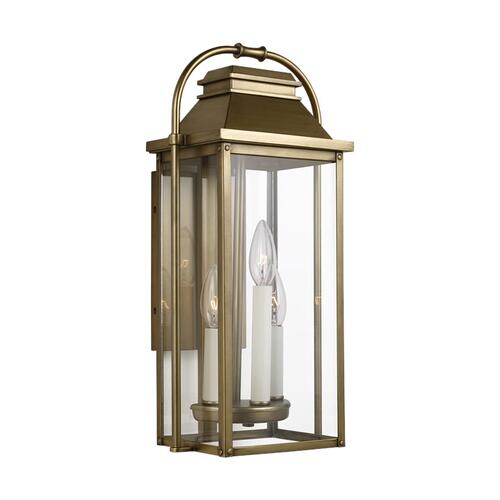 Wellsworth Small Lantern Painted Distressed Brass
