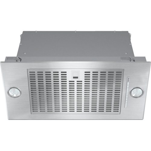 Insert ventilation hood with energy-efficient LED lighting and backlit controls for easy use.