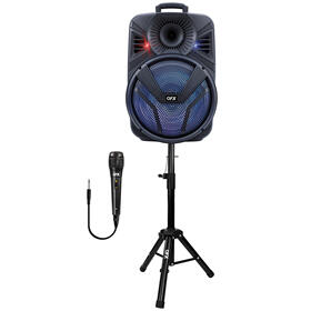 15 INCH RECHARGEABLE BLUETOOTH SPEAKER WITH LED LIGHTS MICROPHONE + STAND